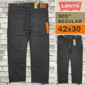 NWT Levis 505 Men's Size 42 x 30 Gray Stretch Denim Straight Leg Jeans